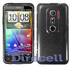 FOR HTC EVO 3D BLACK FABRIC CARBON FIBER LOOK HARD SKIN COVER CASE