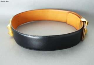 Authentic HERMES CDC Collier De Chien Belt 72 Goldtone x Black Leather