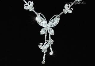 Wedding Butterfly Crystal Necklace Earrings Set S1077