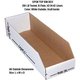 25 18x10x10 WHITE OPEN TOP STORAGE BIN BOX