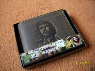 NEW LEATHER NATURAL WALLET *CHE GUEVARA* MILITARY GREEN