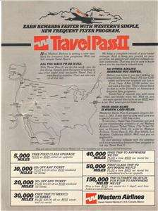 1983 Western Airlines Magazine Ad. Travel Pass II