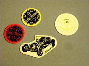 LOT 4 LUCKY 13 CELL PHONE STICKER DECAL HOT RAT ROD TATTOO SKULL