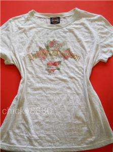 HARLEY DAVIDSON Ivory Lace Burnout T Shirt M GUC