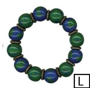 Lilly Hand Painted Bead Stretch Bracelet; Dark Patterns