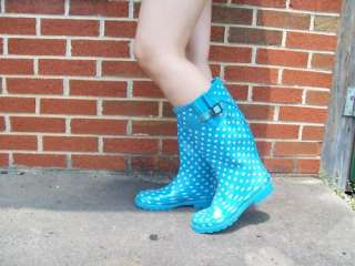 New womens light blue rain boots size 7.5