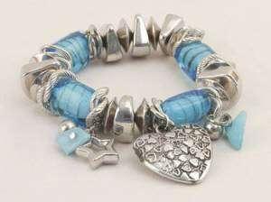 Blue & Silver Tone Stretch Bracelet w/Heart Charm NWT