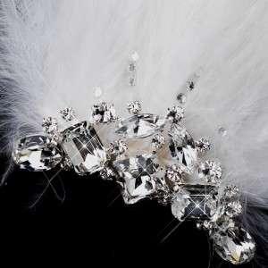 Silver White Feather Fascinator Bridal Hair Clip