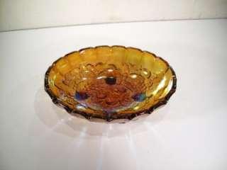 VTG IRIDESCENT CARNIVAL OVAL GLASS FRUIT BOWL DISH ART
