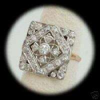 14KT WHITE AND YELLOW GOLD DIAMOND FILAGREE RING 1920S
