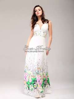 Floral Print Charming Bridal Open Back Rhinestone Fashion Gowns