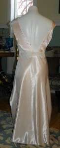 VTG BABY PINK SATIN BIAS CUT Private Luxuries NIGHTGOWN L