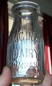 SAGINAW DAIRY HALF PINT GLASS MILK JUG JAR BOTTLE WWII+
