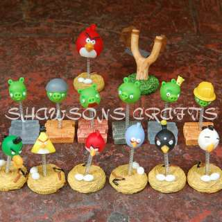 ANGRY BIRDS SET OF 14 PCS REMOVABLE BOBBLE HEAD FIGURES