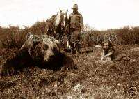 PHOTO HUNTER LARGE DEAD BEAR HUNTERS HUNTING DOG HORSE