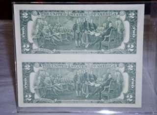 & UNCUT Sheet of 2, 1976 $2 Dollar Bills Framed in Acrylic  