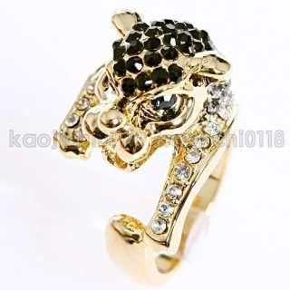 18K GP Black Crystal Beast Ring 11648