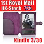 Purple Leather Case Cover Light for  Kindle 3 3G