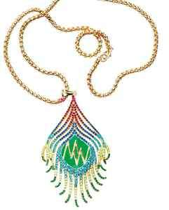 MATTHEW WILLIAMSON H&M PEACOCK CHARM GOLD LONG CHAIN LARGE NECKLACE
