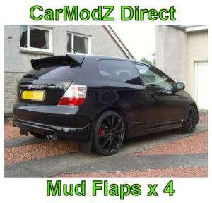 RallyflapZ Mudflaps Honda Civic Type R set of 4  BLACK