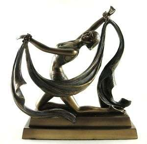 KNEELING FEMALE DANCER Art Deco FIGURINE Bronze STATUE