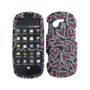 Pink Hearts Black Bling Rhinestone Faceplate Diamond Crystal