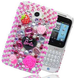FOR HTC CHACHA BARBIE DIAMOND FLOWER HOT PINK HARD PLASTIC CASE COVER