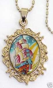 retro Tattoo Segelschiff SAILOR rockabilly Halskette
