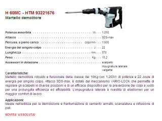 MARTELLO DEMOLITORE PER EDILIZIA HITACHI H60MC 22 J
