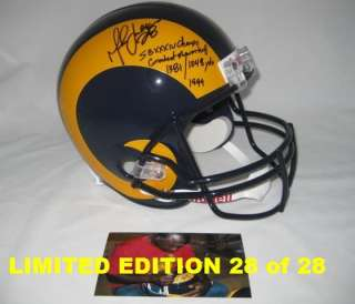 MARSHALL FAULK signed 99 RAMS SB STAT F/S Helmet 28/28