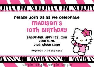 Kitty Zebra Print Invitations Birthday Party Ideas