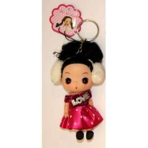 Cute Doll Keychain with I Love You Diamond: Toys & Games
