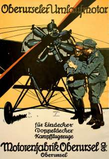 WA93 Vintage WWI German Aviation Motorenfabrik Oberursel Poster WW1 A1