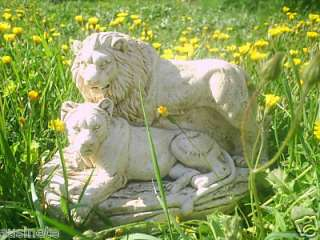 SCULPTURE STATUE COUPLE LION ANIMAL FAUNE PLATRE FELIN