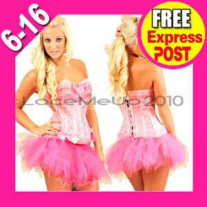 NEW FAIRY COSTUME SET PINK CORSET W/TUTU SKIRT S 2XL