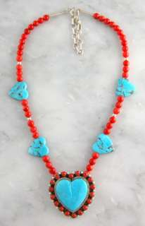 Nora Desidero Sterling Silver Turquoise & Coral Heart Necklace Jewelry