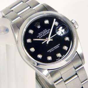 Mens No Holes Steel Rolex Datejust: Black Diamond Dial w/ Papers