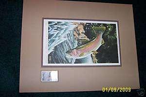 1977 Iowa Trout John Bald Print signed w/stamp BW