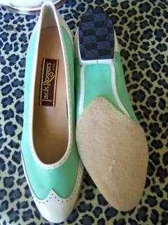 VTG Jack Rogers Wingtip Mint Green Cream Patent Heels 5
