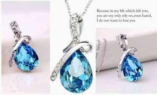 18K GP Swarovski crystal necklace pendant options 4colour U pick J1074