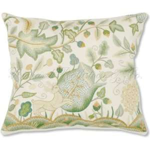 Enchanted Light Green Forest with Acorns, Leaves and Prancing Deer on