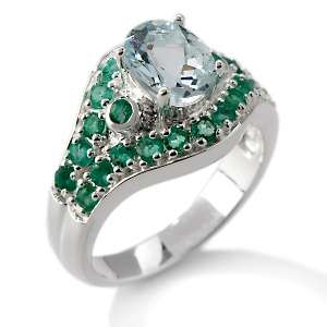 90ct Aquamarine and Emerald Sterling Silver Oval Ring