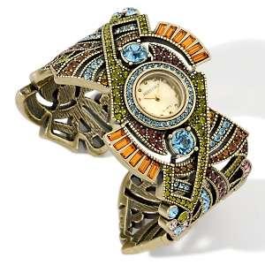 Heidi Daus Geometric Design Crystal 7 Cuff Bracelet Watch