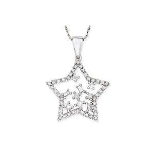28ct Diamond 14K White Gold Star Pendant with 17 Chain