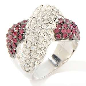 Justine Simmons Jewelry Crisscross Pavé Crystal Silvertone Ring at