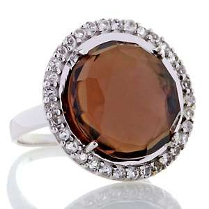 22ct Smoky Quartz and White Topaz Sterling Silver Ring