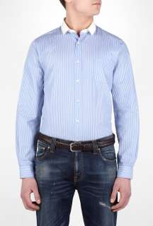 PS Paul Smith  Blue Fine Stripe Contrast Collar Slim Shirt by PS Paul