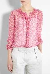 By Malene Birger  Josittia Pink Leopard Print Silk Chiffon Blouse by