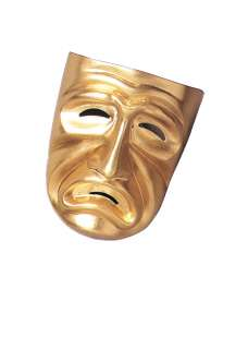 Adult Gold Tragedy Mask   A plastic gold colored full face Greek
