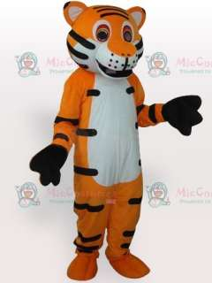 White Belly Tiger with Black Stripes Adult Mascot Costume  White